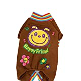 DEESEE(TM) Pet Dog Puppy Warm Flannel Sweater Jumpsuit Coat Clothes Outwear (XS, Brown)