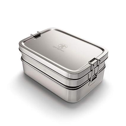 qarapara Große Edelstahl BrotdoseLunchbox mit Fächern und