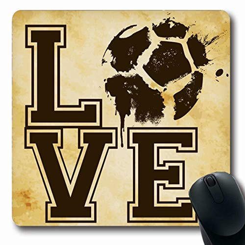 Ahawoso Mousepad for Computer Notebook Vintage Emblem Love Football Soccer Suitable Sports Retro Recreation Pattern Artistic Ball Design Oblong Shape 7.9 x 9.5 Inches Non-Slip Gaming Mouse Pad