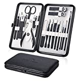 Manicure Set Professional Nail Clippers Kit Pedicure Care Tools- Stainless Steel Men and Women Grooming Kit 18Pcs for Travel or Home (Black)