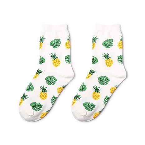 KDSANSO Calcetines de algodón con diseño de piña y Frutas ...