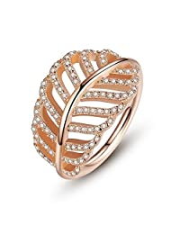 PAHALA Gold Plated With Crystals Leaf Shaped Cubic Zirconia Pave Wedding Engagement Band Ring