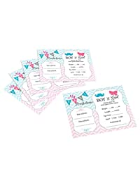 Lillian Rose Baby Gender Reveal Prediction Cards, Pink/Blue/White, 5.5