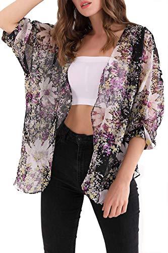 MYIFU Women's 3/4 Sleeve Floral Print Chiffon Kimono Cardigan Capes (Purple, L)