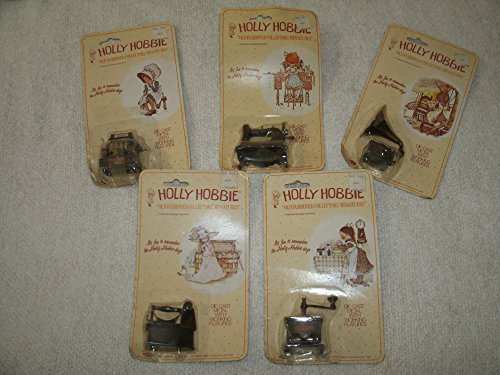 Set of Five Holly Hobbie Old Fashioned Collector's Doll House Miniatures Die Cast Metal With Working Features: Sewing Machine, Coffee Grinder, Phonograph, Iron and Cash Register