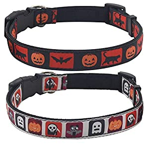 PUPTECK Reflective Dog Basic Collar with Halloween Skull Pattern, Fashion Adjustable for Small Puppy and Medium Large…