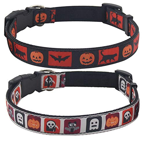 PUPTECK 2 Pack Halloween Dog Collar- Festival Pattern Padded-Ghost, Pumpkin,Bat,Cat-Size Large 18