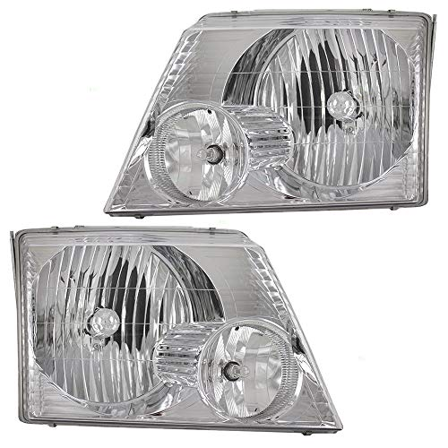 Driver and Passenger Headlights Headlamps Replacement for 02-05 Ford Explorer SUV 1L2Z13008AB ()