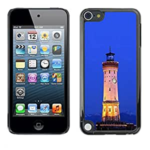 Soft Silicone Rubber Case Hard Cover Protective Accessory Compatible with Apple IPod Touch 5 - Architecture Retro Ligthouse Sea