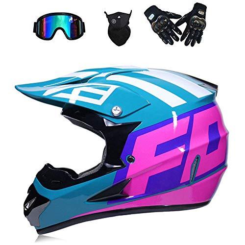 LLQ MX Adult Motorbike Full Face Helme Motorcycle Road Race ATV Crash Helmet Off-Road Motorbike Karting Motocross Helmets Included Mask Gloves Goggles (Blue, S)