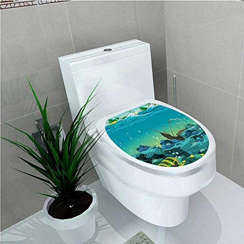 Decoration Bathroom Toilet Cover Sticker Seascape Underwater with Treasure Galleon and Sunk Ship Pirate Kids Print Teal Yellow W15 x L17