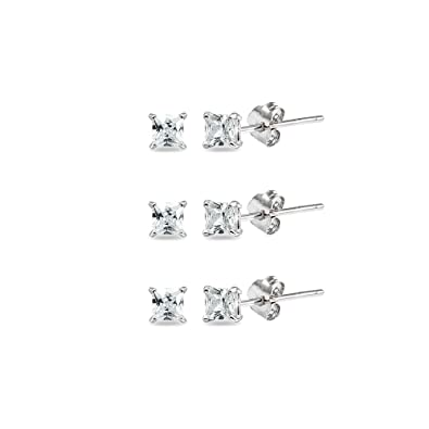 a8be59d78ddc2 Amazon.com: 3-Pair Set Sterling Silver Cubic Zirconia Princess-Cut ...