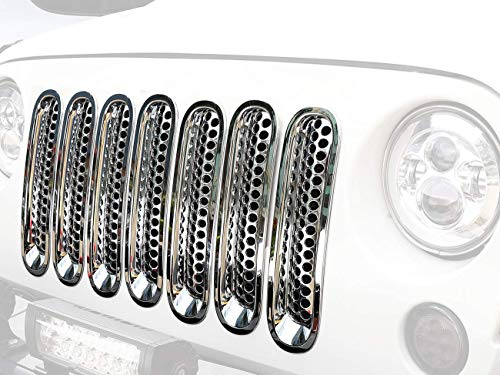 Hooke Road Clip-in Grill Inserts Silver Chrome Front Grille Covers for 2007-2015 Jeep Wrangler JK & Unlimited (Pack of 7)