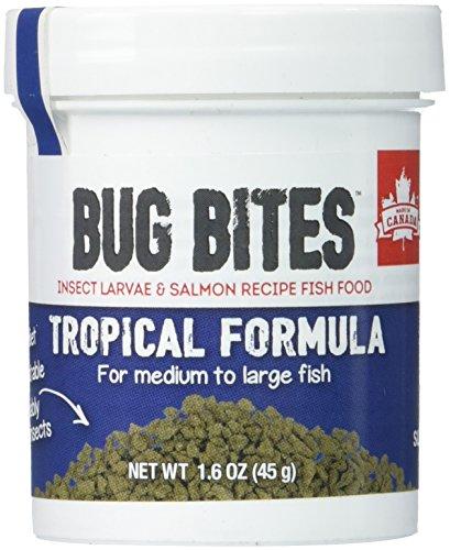 Large Bites - Fluval A6578 Bug Bites Tropical Fish Large Granules 1.59 oz, Medium to Large Fish