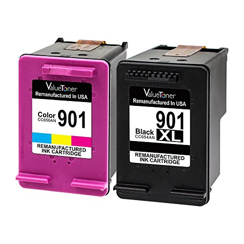 Valuetoner Remanufactured Ink Cartridge Replacement for HP 901XL 901 XL High Yield (1 Black, 1 Tri-Color) 2 Pack Compatible for HP Officejet 4500, J4524, J4540, J4550, J4580, J4624, J4680 Printers Officejet J4680 Inkjet Printer