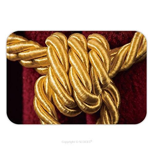 Malibu Tassel - Flannel Microfiber Non-slip Rubber Backing Soft Absorbent Doormat Mat Rug Carpet Red Velvet Curtain With Tassel Close Up Knot On Rope 171575531 for Indoor/Outdoor/Bathroom/Kitchen/Workstations