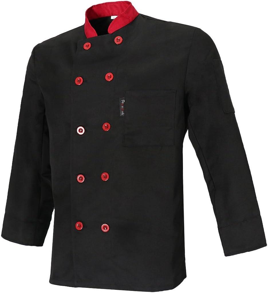 MagiDeal Unisex Cuoco Maniche Lunghe Cappotto Giacca Hotel Cameriere Uniforme