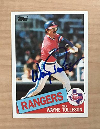 WAYNE TOLLESON TEXAS RANGERS SIGNED AUTOGRAPHED 1985 TOPPS CARD #247 W/COA
