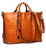 Leather Tote Bag for Women, Vintage Style Leather Top-Handle Bags Tote Shoulder Bag Handbag Crossbody Bag (Orange)