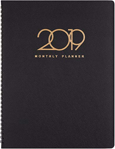 "2019 Monthly Planner - Monthly Planner 2019 with Tabs, Perfect for Your Organization, 15 Months from January 2019 - March 2020, 8-7/8"" x 11"", Black - Poluma"