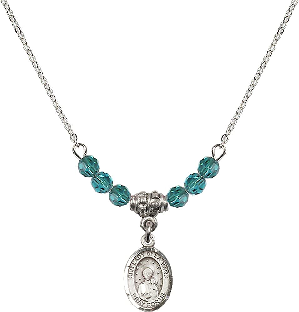 18-Inch Rhodium Plated Necklace with 4mm Zircon Birthstone Beads and Sterling Silver Our Lady of la Vang Charm.