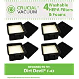 4 Dirt Devil F43 Filter Kits w/ HEPA Filter & Foam Pre-filter; Compare to Dirt Devil Part Nos. 2PY1105000 and 1PY1106000; Designed and Engineered by Think Crucial