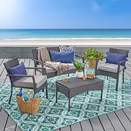 Matts Global Modern Contemporary Cancun Outdoor 4-Piece Wicker Cushions Chat Weather Resistant Polyester Fabric Set (Grey Silver) ()