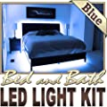 Biltek 3.3' ft Blue Bedroom Dresser Headboard LED Lighting Strip + Dimmer + Remote + Wall Plug 110V - Headboard Closet Make Up Counter Mirror Strip Lamp Waterproof 3528 SMD Flexible DIY 110V-220V