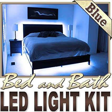Biltek 16.4\' ft Blue Bedroom Dresser Headboard LED Lighting Strip + Dimmer  + Remote + Wall Plug 110V - Headboard Closet Make Up Counter Mirror Light  ...