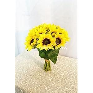 Sweet Home Deco Silk Sunflower Artificial Flower Bouquet/Flower Boutonniere Wedding Flowers 6
