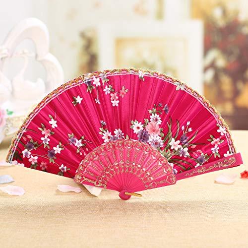Holzkary Chinese Style Vintage Folding Hand Held Fan/Paper Fan/Feather Fan/Sandalwood Fan/Bamboo Fans for Wedding, Party, Dancing(23cm.Hot Pink)