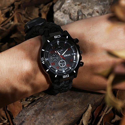 Survie paracord Bracelet de survie d'urgence, Hommes & Femmes horloge avec/Sifflet/Allume-feu/grattoir/Boussole et… 2