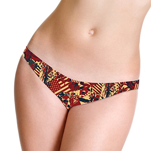 Marrymi Sexy G-String Printed Flag Underwear Low Rise Thong Created Lingerie Panties