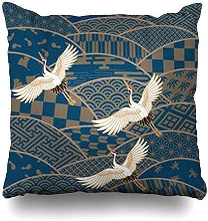 Cuscini Bianchi E Blu.Gfgkkgjff0902 Federa Per Cuscino Motivo Artistico Con Uccellini