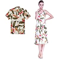 e291c657e0d Hula Hula Batik Couple Matching Hawaiian Luau Outfit Aloha Shirt Melani Dress  In Cream Rafelsia