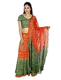 Green Cotton Casual Women's Bhandej Lehnga