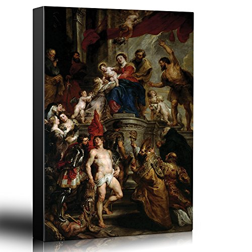 wall26 - Oil Painting of Madonna Enthroned with Child and Saints by Peter Paul Rubens - Baroque Style - Angels, Priest - Canvas Art Home Decor - 16x24 inches -