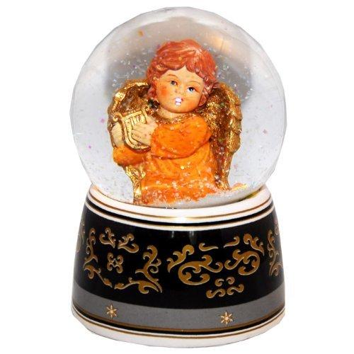 20034 Schneekugelhaus Angel Orange with Harp & Music Box Snow Globe (Angel Snowglobe Musical)
