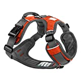 Embark Pets Adventure Dog Harness, Easy On and Off with Front and Back Lead Attachments & Control Handle - No Pull Training, Size Adjustable and No Choke (XL Orange)