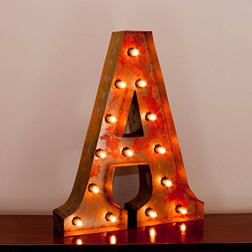 Vintage Marquee Letter A with Lights 24 Inches Tall