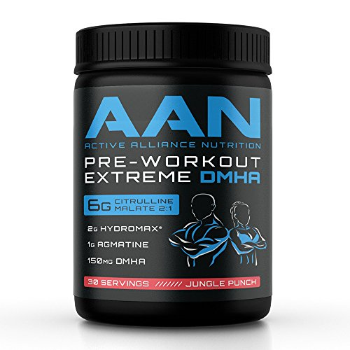 AAN's Pre-Workout EXTREME DMHA NO2 Booster with Agmatine, Creatine, Hordenine, Agmatine Sulfate, Gaba, BioPerene, Hydromax and More (30 Servings, Jungle Punch)