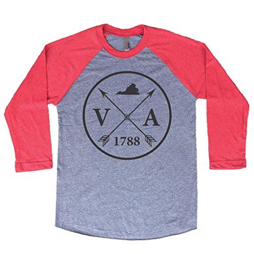 Homeland Tees Unisex Virginia Arrow 3/4 Length Baseball Style Raglan T-Shirt XX-Large Red/Black ()