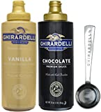 Ghirardelli - Vanilla and Chocolate Sauce, 16 Ounce Squeeze Bottles (Set of 2) - with Limited Edition Measuring Spoon