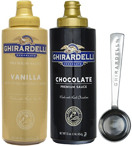 (Ghirardelli Chocolate Sauce and Vanilla Sauce, 16 Ounce Squeeze Bottles (Set of 2) - with Limited Edition Measuring Spoon)