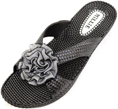 Damer / Kvinnor Sommar / Semester / Beach Millie Blomma Sandaler / Skor / Flip Flops Svart