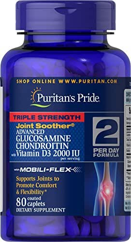 Puritans Pride Triple Strength Glucosamine Chondroitin with Vitamin D3 Caplets, 80 Count