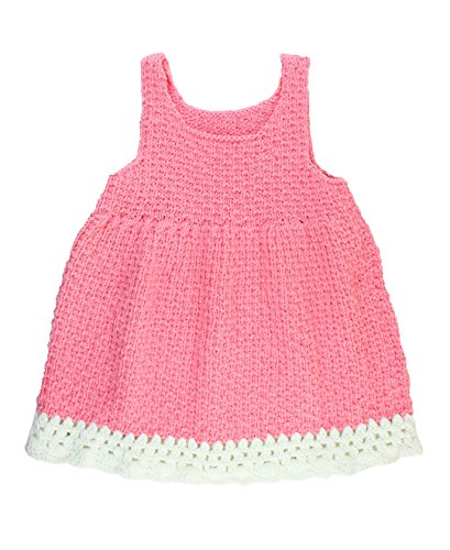 RuffleButts Infant/Toddler Girls Pink Handmade Knitted Tank Dress - Pink - 6-12m (Dress Girls Crocheted)