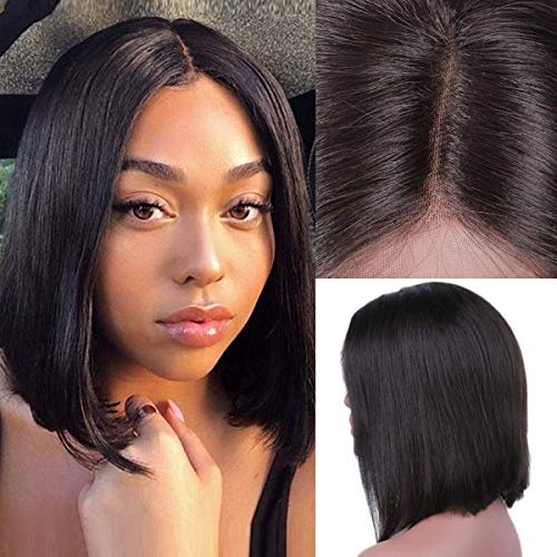 Kbeth Hair Straight 4x4 Lace Front Wigs Human Hair for Black Women Unprocessed Brazilian Virgin Remy Hair Wig 180% Density Straight Short Bob Lace Front Wig Natural Black Color (12 Inch, Straight Wig)