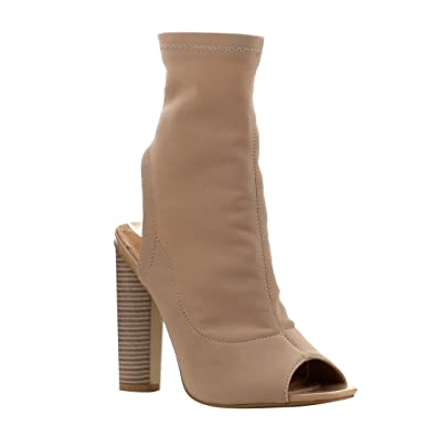 c1d68d4d4bb74 CAPE ROBBIN Connie-3 Open Peep Toe Lycra Elastic Pull On Ankle Bootie Block  Heel