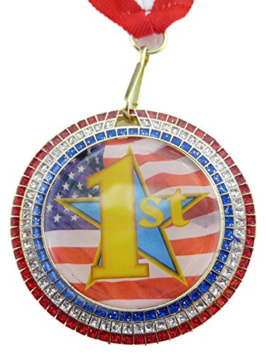 2.75 inch diameter - 1st Place Gold - Red, White & Blue Glitter Medal with Red, white & blue v-neck ribbon